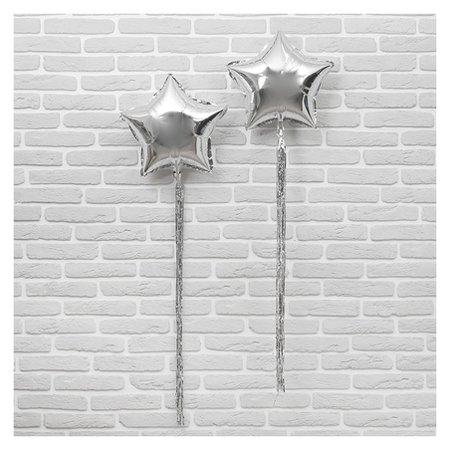 """Шар фольгированный 18""""""""звезда"""" с лентой из фольги, набор 2 шт., индивидуальная упаковка, цвет серебряный"""