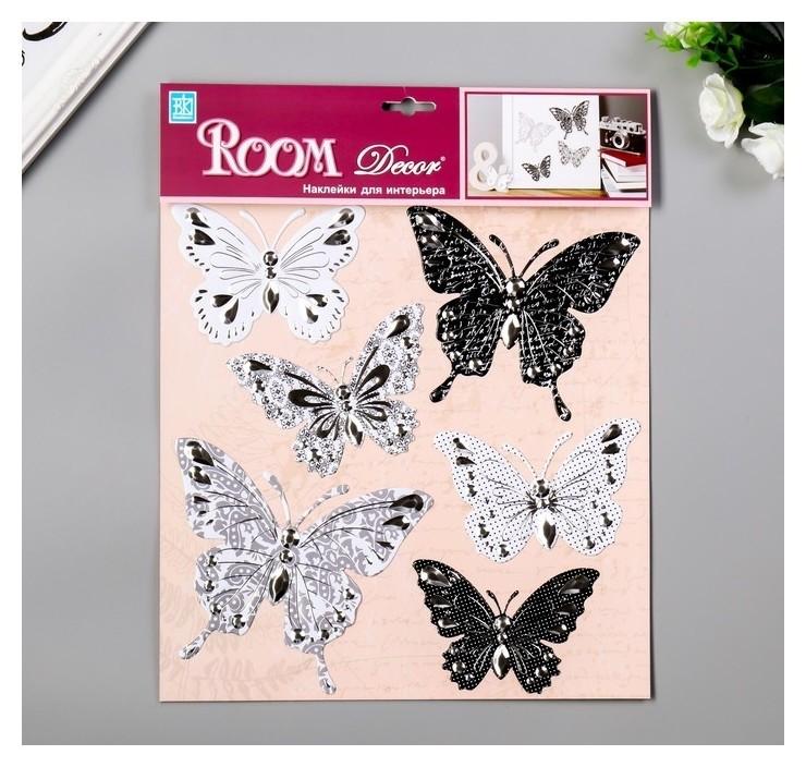 """Объёмные наклейки Room Decor """"Чёрно-белые бабочки"""" 30х32 см  Room Decor"""