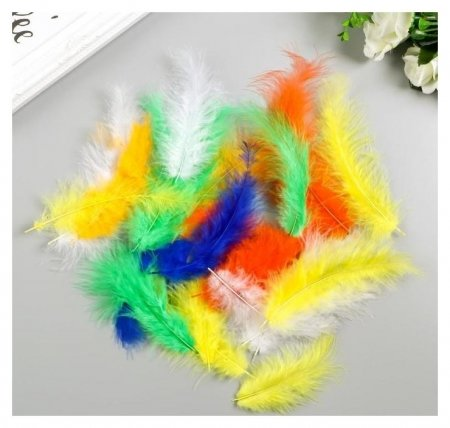 Перья декоративные страусиные, 10-12 см (Набор 24 шт) 6 цветов, яркие  Остров сокровищ