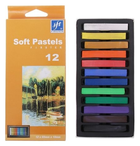 Пастель художественная профессиональная сухая, 12 цветов, в картонной коробке NNB