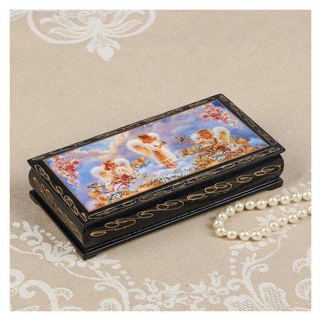 Шкатулка - купюрница «Ангелочки в облаках», 8,5×17 см, лаковая миниатюра  NNB