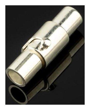 Замок-концевик магнитный с фиксатором, 15.5*5мм (Внутр. 3мм), цвет серебро  NNB