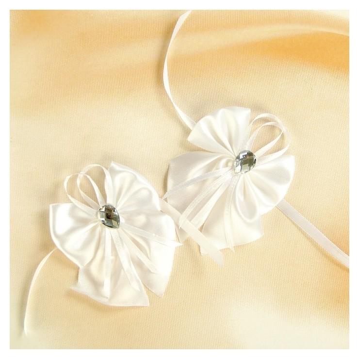 Бант-бабочка свадебный для декора, атласный, 2 шт, белый  NNB