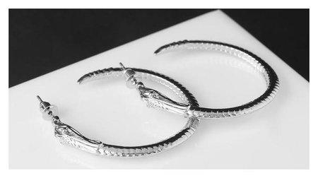 """Серьги-кольца """"Змея"""", цвет серебро, D=4 см  Queen Fair"""