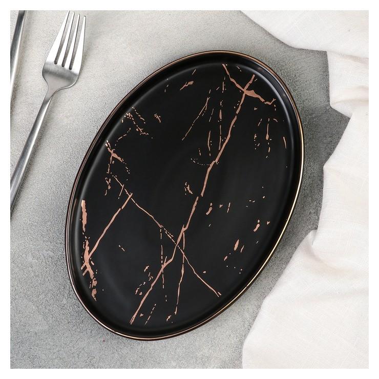Тарелка для подачи овал Gold, 22,5×15,5×2 см, цвет чёрный с золотом  NNB