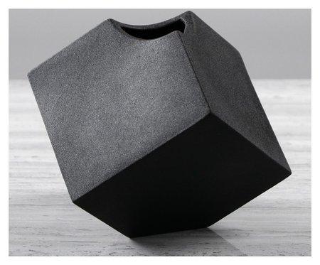 """Ваза настольная """"Куб"""", чёрный цвет, 12 см  Керамика ручной работы"""