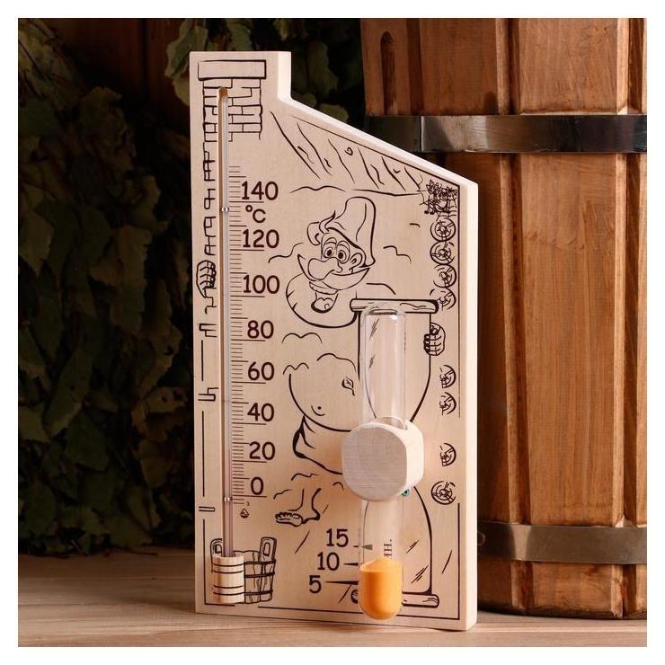 Банная станция, часы песочные + термометр для бани и сауны, 28×14 см  NNB