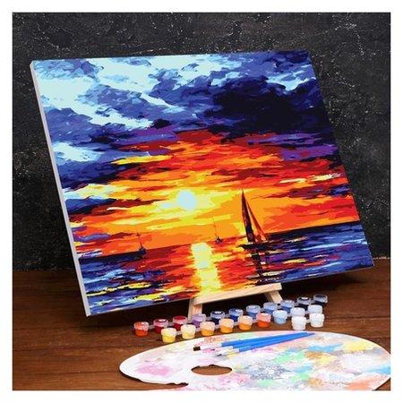 Картина по номерам на холсте с подрамником «Закат» 40×50 см