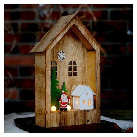 Декор с подсветкой Праздничный домик 6×15×23,5 см NNB