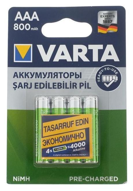 Аккумулятор Varta, Ni-mh, Aaa, Hr03-4bl, 1.2в, 800 мач, блистер, 4 шт.  Varta