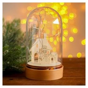 Настольный декор с подсветкой «Дом и снеговик» 19х10х10 см  NNB