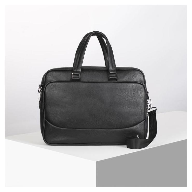 Сумка деловая, отдел на молнии, наружный карман, цвет чёрный NNB