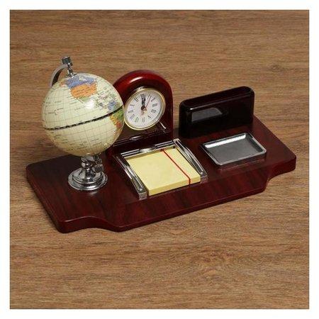 Набор настольный 5в1 Часы, подст п/виз,глобус,листы для зам,ст-н для скреп  NNB