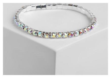 Браслет со стразами Лёд 1 ряд, цвет радужный в серебре, 4 мм Queen fair