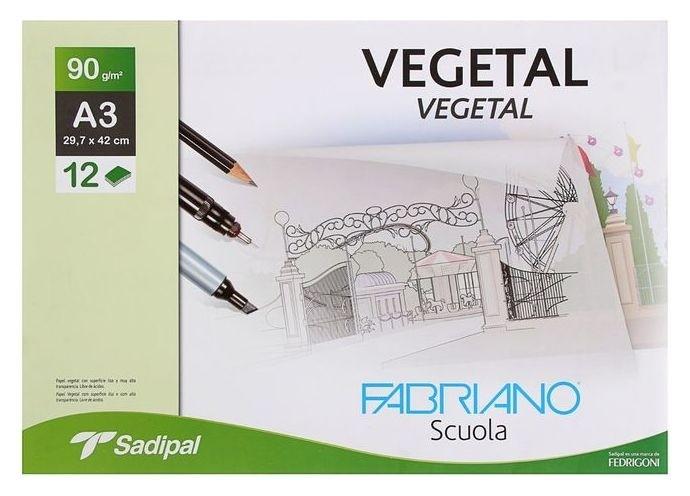 Калька для художественных работ, А3, 297 х 420 мм, Fabriano Vegetal, 12 листов, 90 г/м², конверт  Sadipal
