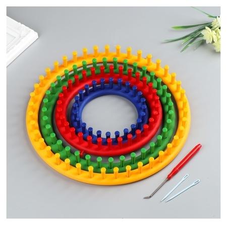 """Набор устройств для вязания """"Лум"""", 4 шт. D=14 см, 19 см, 24 см, 30 см, крючок и игла в комплекте  NNB"""