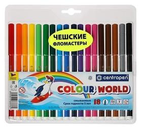 Фломастеры смываемые Colour World, 18 цветов  Centropen