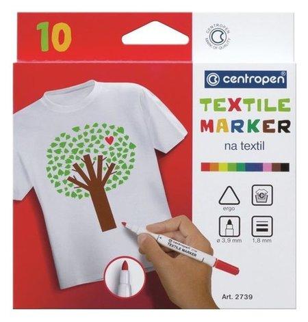 Маркер для ткани Centropen 2739, 1.8 мм, набор 10 цветов  Centropen