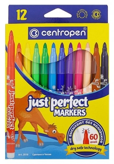 Фломастеры невысыхаемые Just Perfect, 12 цветов  Centropen