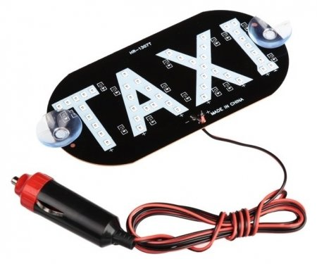 """Табличка """"Taxi"""" светодиодная со штекером, в прикуриватель, на присосках  NNB"""