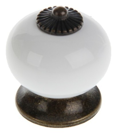 Ручка кнопка Ceramics 003, керамическая, белая  NNB