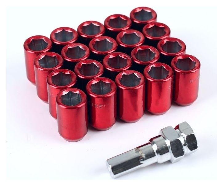 Гайки колёсные Jn-302, 12х1.25, 32 мм, конус, набор 20 шт + ключ, красные  NNB