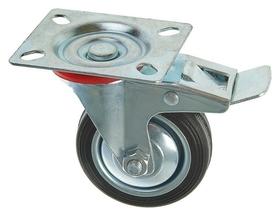 Колесо для транспортных тележек, D=75 мм, на площадке, со стопором