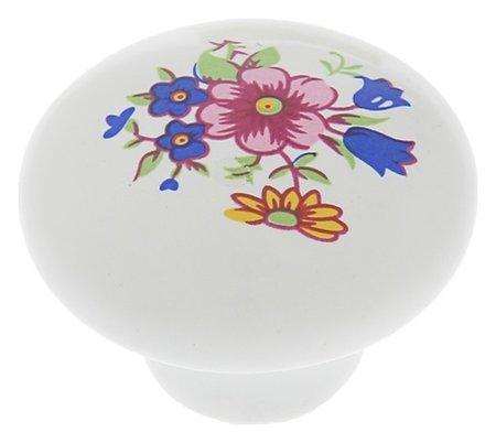 Ручка кнопка Ceramics 017, керамическая, белая NNB