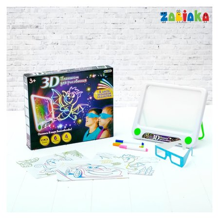 3d-планшет для рисования неоновыми маркерами «Магические рисунки», световые эффекты, с карточками  Zabiaka