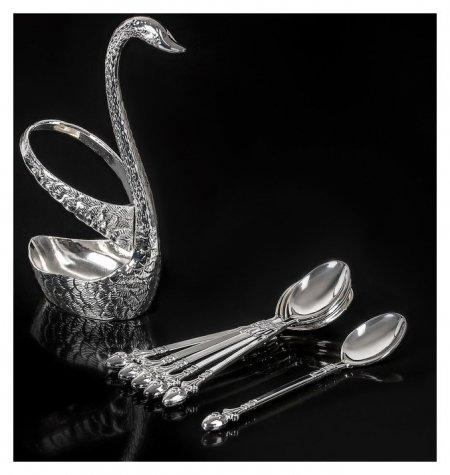 Набор ложек на подставке «Серебряный лебедь», 7,5×5×14 см  NNB