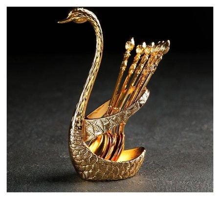 Набор ложек на подставке «Золотой лебедь», 7,5×5×14 см  NNB
