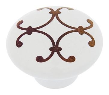 Ручка кнопка Ceramics 009, керамическая, белая с рисунком  NNB
