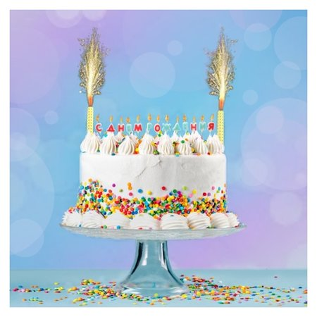 Набор свечей в торт С Днём Рождения + 2 фонтана  NNB