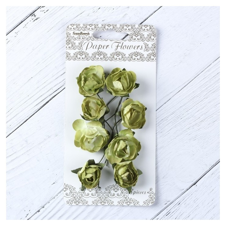 "Цветы розы бумажные ""Зеленые"" набор 8 шт  КНР"