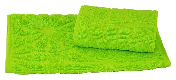 Полотенце махровое жаккардовое 30х50 см, зеленый, хлопок 100%, 400 г/м2  Текстиль центр