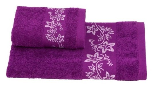 Полотенце махровое цветок 30х60 +/- 2 см, фиолетовый, хлопок 100%, 360г/м2 Текстиль центр