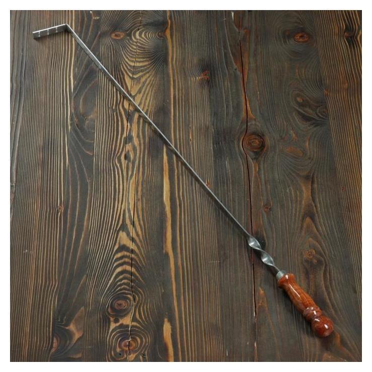 Кочерга узбекская с деревянной ручкой, с узором, 70*1,6см, сталь 3мм  NNB