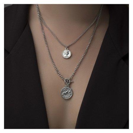 "Кулон ""Цепь"" два медальона, цвет серебро, 50см  Queen Fair"
