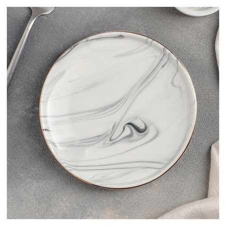 Тарелка обеденная «Мрамор», 15 см, цвет серый  NNB