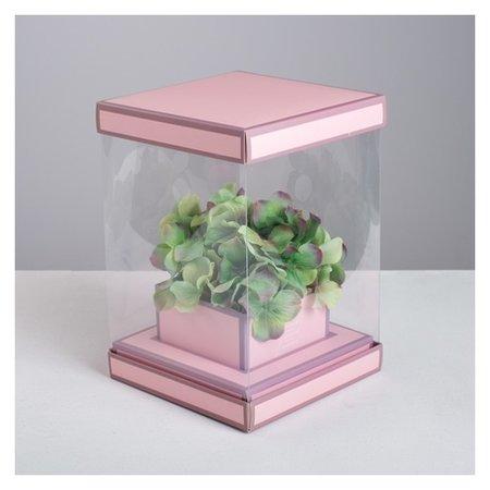 Коробка для цветов с вазой и PVC окнами складная «Вдохновение», 16 х 23 х 16 см  Дарите счастье