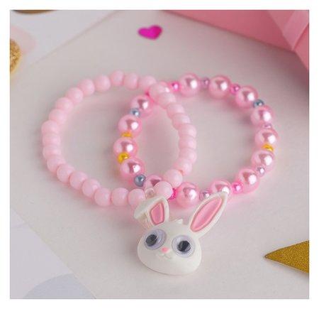 """Набор детских браслетов """"Выбражулька"""" 2шт, зайчик, цвет розовый  Выбражулька"""