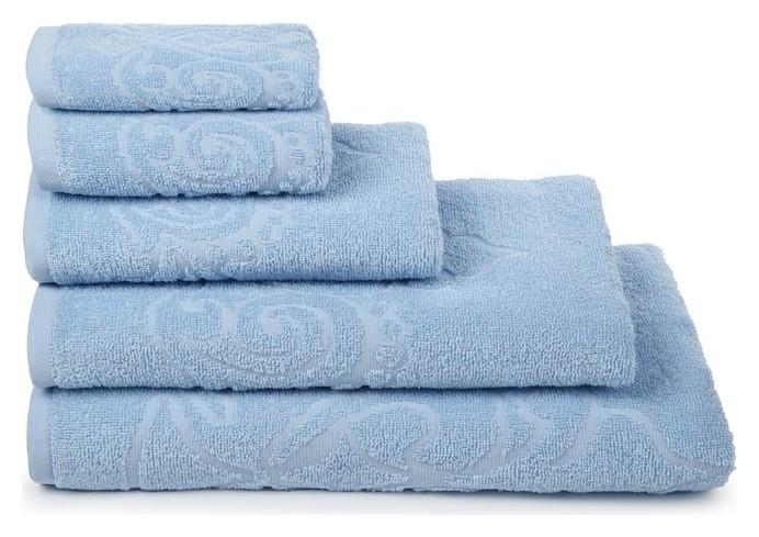 Полотенце махровое «Romance» цвет голубой, 70х130, 320 гр. Cleanelly