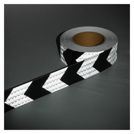 Светоотражающая лента, самоклеящаяся, бело-черная, 5 см х 25 м  NNB