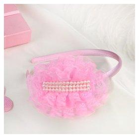 """Ободок для волос """"Выпускница"""" 0,5 см, бусины, розовый"""