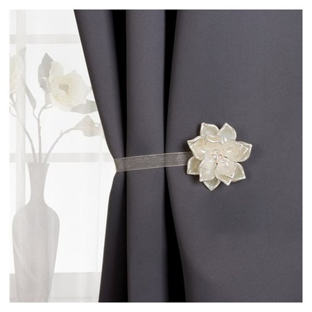 Подхват для штор, «Перламутровый цветок», D = 6,5 см, цвет молочный  Арт узор