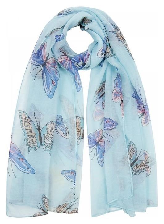 Палантин женский, цвет голубой/бабочки, размер 90х180  Rossini