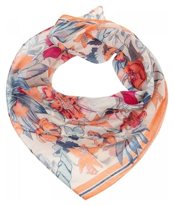 Платок женский, цвет молочный/оранжевый, размер 96х96  Rossini