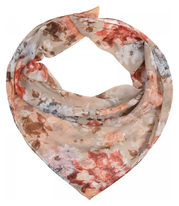 Платок женский текстильный FC 428-1 цвет бежевый, р-р 96х96  Rossini