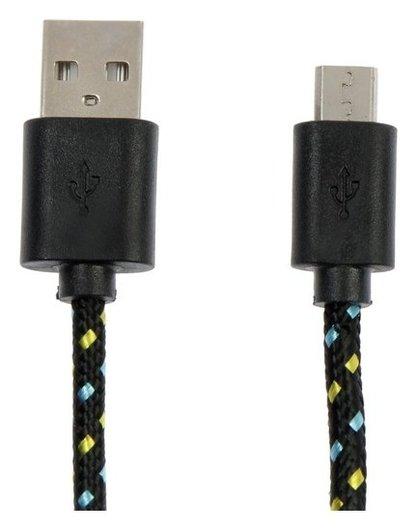 Кабель Defender Usb08-03t, USB - Microusb, 1 м, тканевая оплётка, чёрный  Defender
