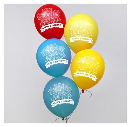 """Воздушные шары """"Happy Birthday"""", щенячий патруль 12 дюйм (Набор 5 шт)  Paw patrol"""